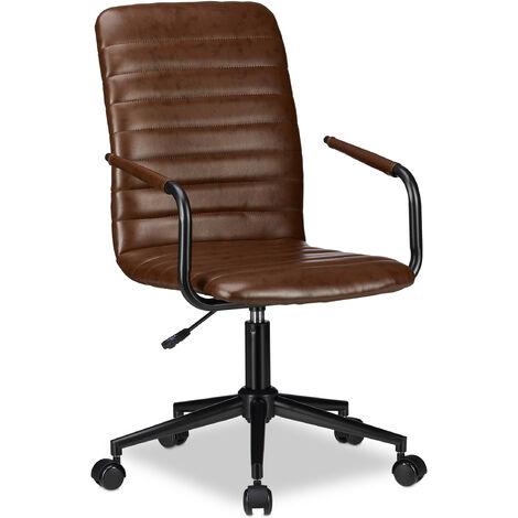 Bürostuhl, höhenverstellbarer Drehstuhl, Kunstleder, bequem, 120 kg belastbar, HxBxT: 101 x 60 x 60 cm, braun