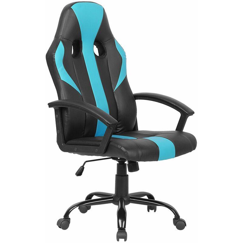 Bürostuhl Schwarz mit Hellblau höhenverstellbar mit Kissen für Spieler Modern