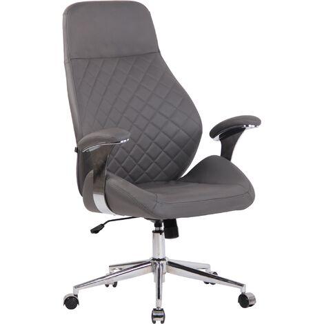 Bürostuhl Layton-grau-Echtleder