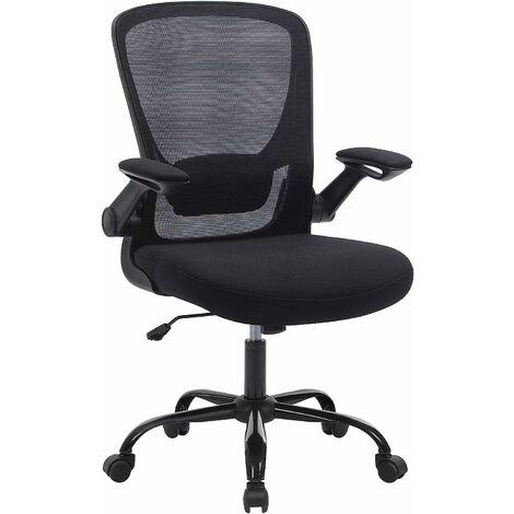 Bürostuhl mit hochklappbaren Armlehnen, Schreibtischstuhl mit Netzbespannung, ergonomischer Computerstuhl, 360° Drehstuhl, verstellbare Lendenstütze, platzsparend, Schwarz OBN37BK - Schwarz