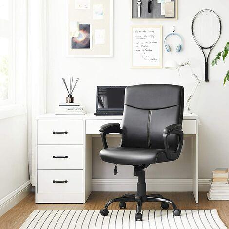 Bürostuhl, Schreibtischstuhl, Chefsessel mit Kunstleder-Bezug, Schaumstoffpolsterung, höhenverstellbar zwischen 95 und 103 cm, Wippfunktion, Sternfuß aus Stahl, Schwarz OBG39BK - Negro