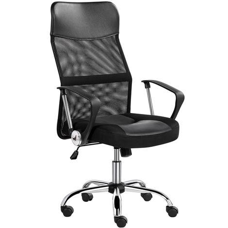 Bürostuhl, Schreibtischstuhl ergonomisch, atmungsaktiver Bürodrehstuhl mit hoher Netz-Rückenlehne, Wippfunktion Office Chair, Belastbar bis 135 kg