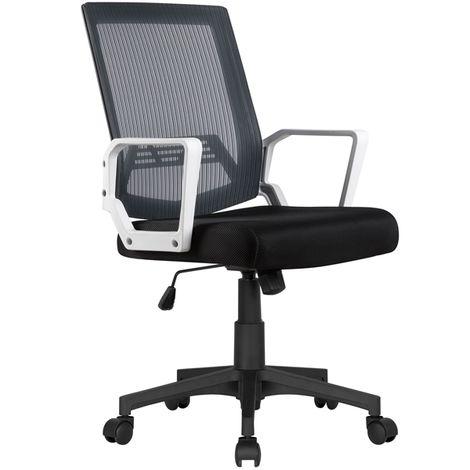 Bürostuhl Schreibtischstuhl ergonomischer Drehstuhl Chefsessel Wippfunktion mit Armlehnen,Grau
