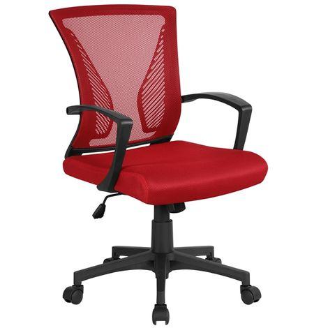 Yaheetech Bürostuhl ergonomischer Schreibtischstuhl Drehstuhl Chefsessel höhenverstellbar Sportsitz Mesh Netz Stuhl Rot