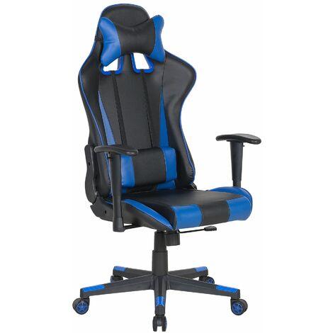 Bürostuhl Schwarz mit Blau höhenverstellbar mit Kissen für Spieler Modern