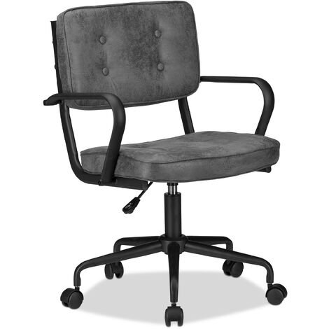 Bürostuhl, stufenlos höhenverstellbarer Drehstuhl, Stoff, bequem, 120 kg belastbar, HBT: 95 x 60 x 60 cm, grau