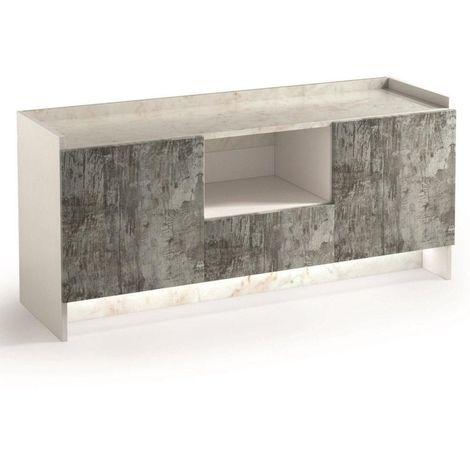 Buffet 2 portes et 1 tiroir MARVEL aspect imprimés plateau marbre éclairage led intégré