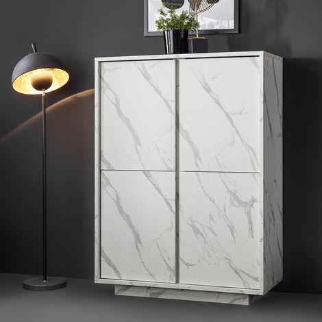 Buffet armoire crédence Mobile pour Salon 4 Portes Marbre Blanc Carrara