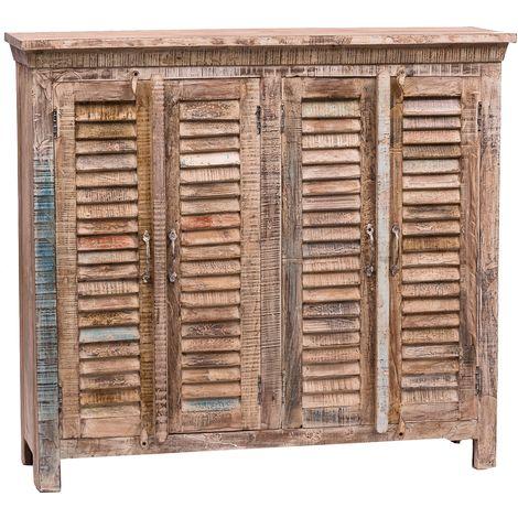 Buffet avec portes à volet, realisé en bois massif recyclé peint à la main