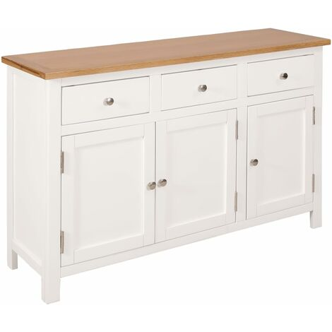 Buffet bahut armoire console meuble de rangement 110 cm bois de chêne massif - Bois