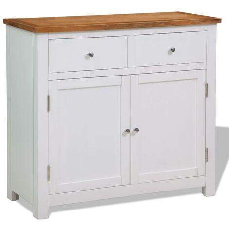 Buffet bahut armoire console meuble de rangement 90 83 cm bois de chêne massif - Bois