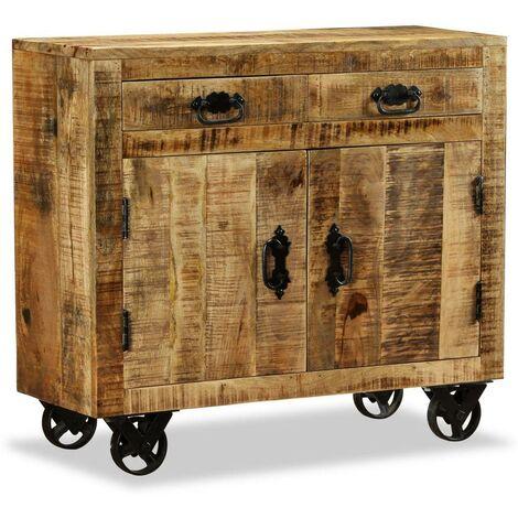 Buffet bahut armoire console meuble de rangement avec 2 tiroirs et 1 bois de manguier brut - Bois