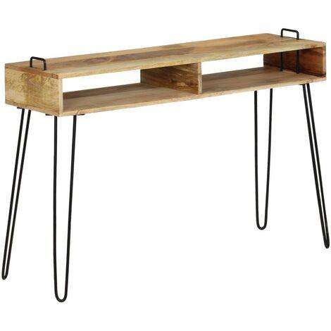 Buffet bahut armoire console meuble de rangement bois de manguier massif 115 cm - Bois