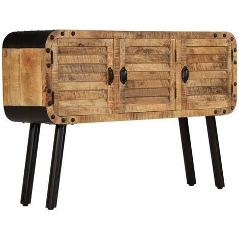 Buffet bahut armoire console meuble de rangement bois de manguier massif 120 cm - Bois