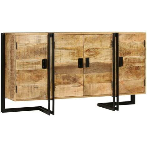 Buffet bahut armoire console meuble de rangement bois de manguier massif 150 cm - Bois