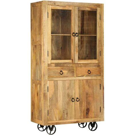 Buffet bahut armoire console meuble de rangement bois de manguier massif 185 cm - Bois