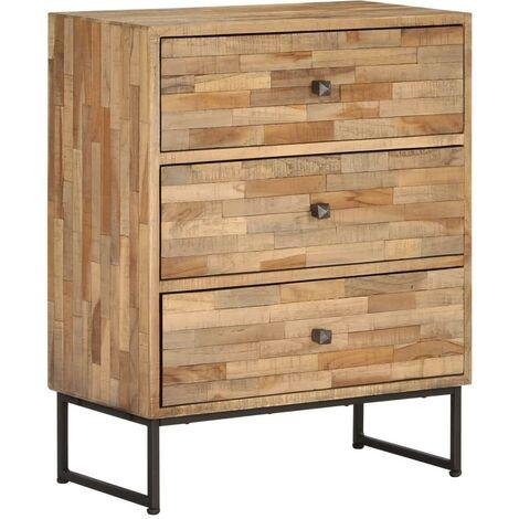 Buffet bahut armoire console meuble de rangement bois de teck recyclé 75 cm - Bois
