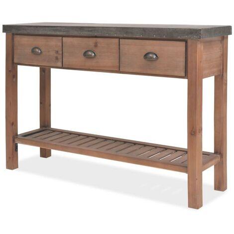 Buffet bahut armoire console meuble de rangement bois massif de sapin 122 cm - Bois