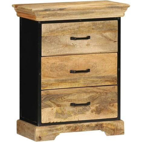 Buffet bahut armoire console meuble de rangement coffre à tiroirs 75 cm bois solide de manguier - Bois