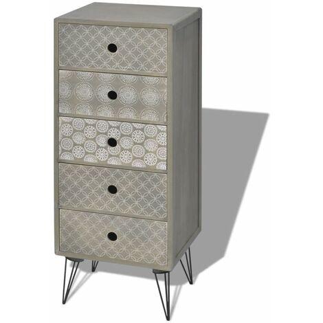 Buffet bahut armoire console meuble de rangement de rangement avec 5 tiroirs gris - Gris