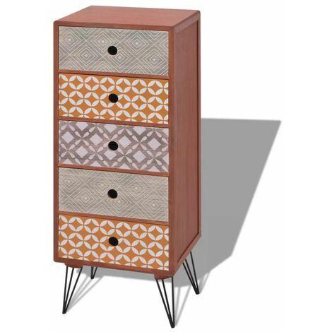 Buffet bahut armoire console meuble de rangement de rangement avec 5 tiroirs marron - Marron
