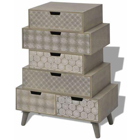 Buffet bahut armoire console meuble de rangement de rangement avec 6 tiroirs gris - Gris