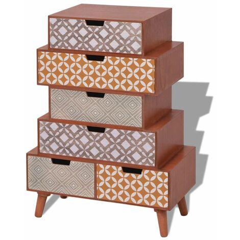 Buffet bahut armoire console meuble de rangement de rangement avec 6 tiroirs marron - Marron