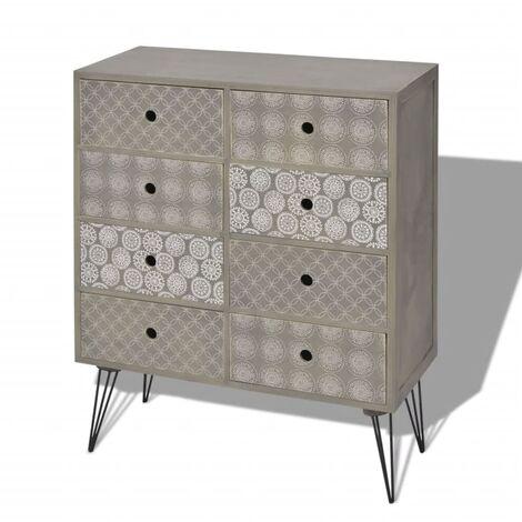 Buffet bahut armoire console meuble de rangement de rangement avec 8 tiroirs gris - Gris