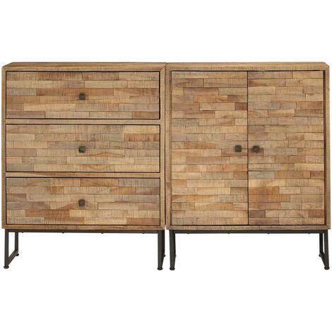 Buffet bahut armoire console meuble de rangement ensemble de 2 pièces bois de teck recyclé - Bois