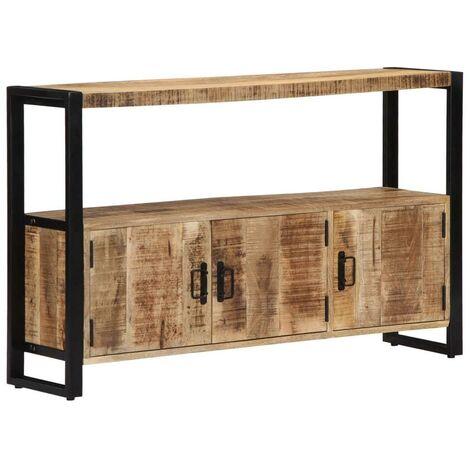 Buffet bahut armoire console meuble de rangement latérale 120 cm bois de manguier solide - Bois
