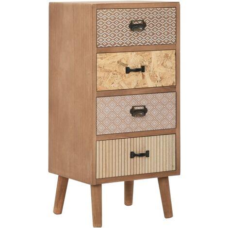 Buffet bahut armoire console meuble de rangement latérale avec 4 tiroirs marron 75 cm mdf - Marron
