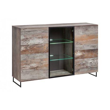 Buffet, bahut modèle KAN + LED. Meuble type industriel. Enfilade design pour votre salon ou salle à manger. - Gris
