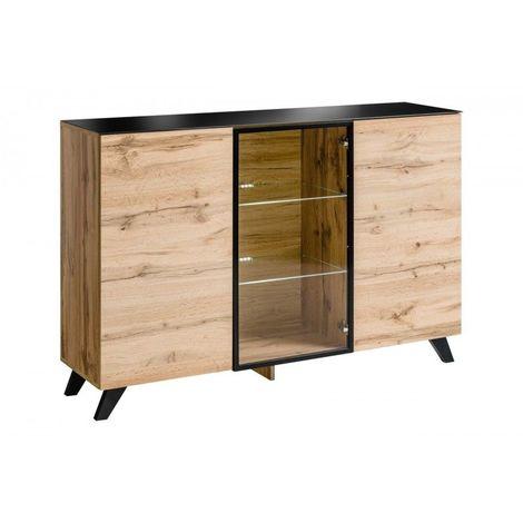 Buffet, bahut modèle TINO + LED. Meuble type scandinave. Enfilade design pour votre salon ou salle à manger. - Marron