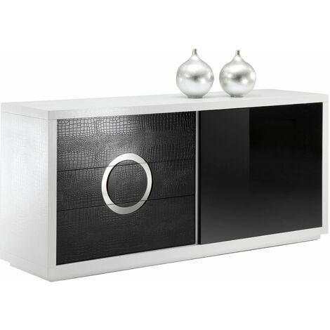 Buffet bas bahut ACAPULCO vaisselier rangement 1 porte en verre noir et 3 tiroirs en MDF effet croco noir et blanc