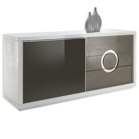 Buffet bas bahut ACAPULCO vaisselier rangement 1 porte en verre trempé et 3 tiroirs en MDF effet croco blanc et cappuccino