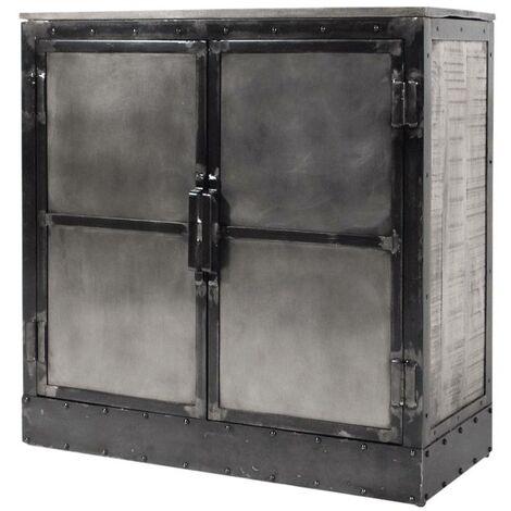 Buffet carré industriel 2 portes bois métal patine grise - Noir