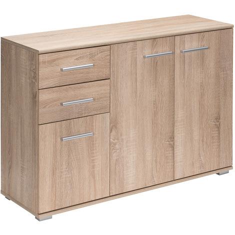 Buffet commode chêne avec 3 portes 2 tiroirs Meuble de rangement 107 x 75 x 35cm