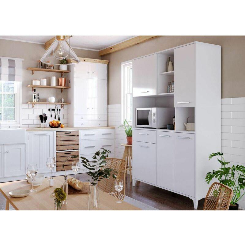 Buffet Cuisine 120cm KUISINA 5 portes et 1 tiroir Blanc - Blanc