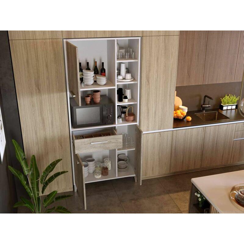 Buffet Cuisine 80cm KUISINA 3 portes et 1 tiroir Blanc & bois naturel - Blanc & bois naturel