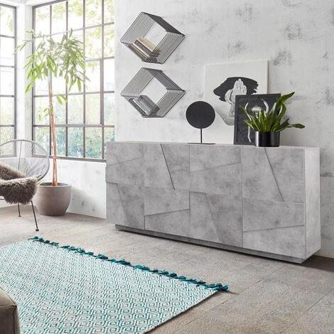 Buffet de salon 4 portes 2 compartiments avec étagères modernes Ping Side L Concrete