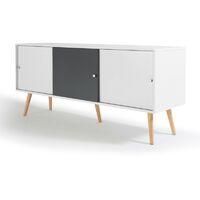 Buffet Effie scandinave 3 portes bois blanc et gris