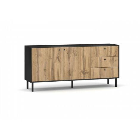 Buffet, enfilade, bahut industriel SPEBO, 164 cm, 3 tiroirs et 2 portes, coloris noir mat et chêne wotan - Noir
