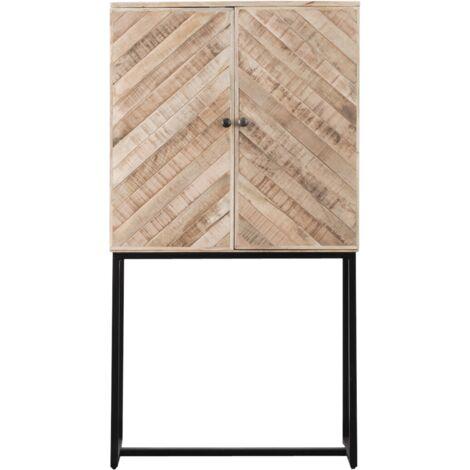 Buffet haut motifs chevrons bois métal - Bois