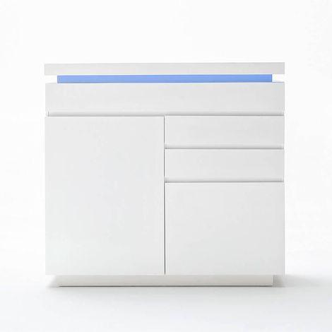 Buffet haut OCEAN laqué blanc brillant 2 portes 3 tiroirs LED inclus - blanc