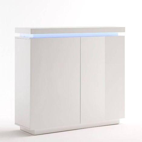 Buffet haut OCEAN laqué blanc brillant 2 portes LED inclus - blanc