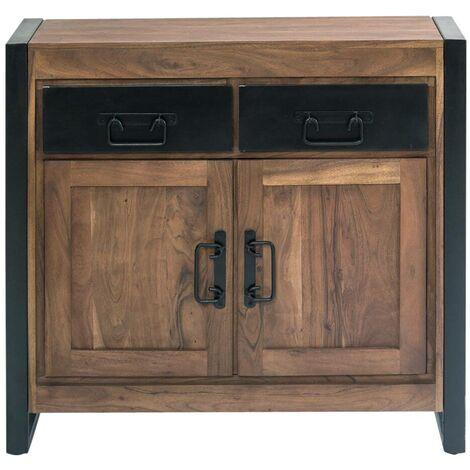 Buffet industriel 2 portes bois, 2 tiroirs métal - Metal noir