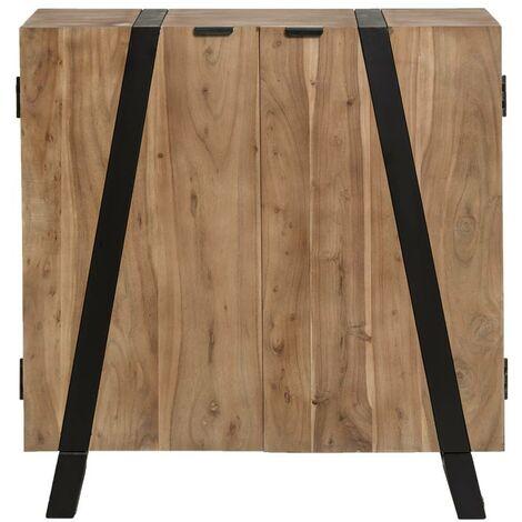 Buffet industriel 2 portes, bois d'acacia et métal - Bois