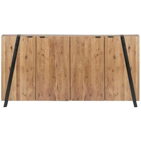 Buffet industriel 4 portes, bois d'acacia et métal - Acacia foncé
