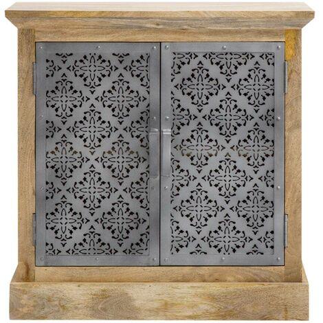 Buffet industriel bois et métal ajouré, 2 portes - Bois