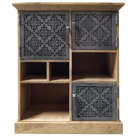 Buffet industriel bois et métal ajouré, 3 portes, 4 niches - Manguier